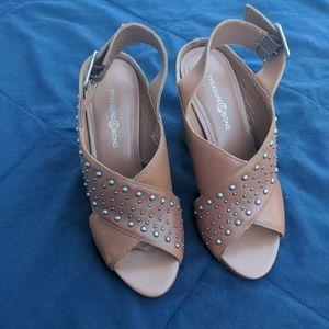 Studded criss cross block heel sandals
